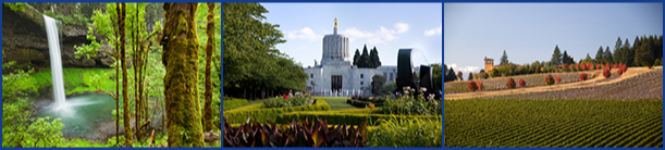 Images of beautiful Oregon State, including Silver Falls, the State Capitol, and a Winery